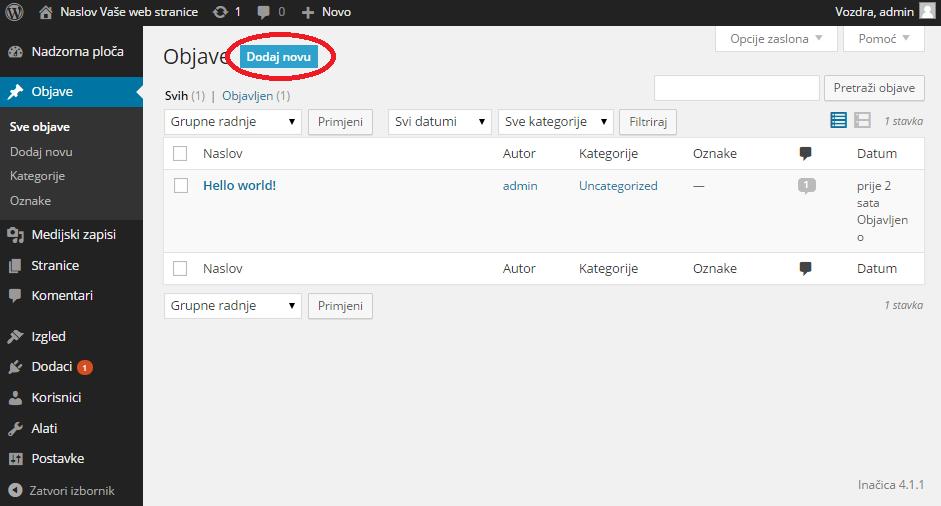 Kreiranje sadržaja u WordPress